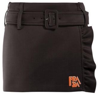 Prada Belted Jersey Mini Skirt - Womens - Black
