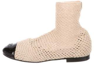 Chanel Woven Cap-Toe Boots