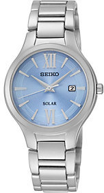 Seiko Solar Blue Dial Stainless Steel Ladies Watch $235 thestylecure.com