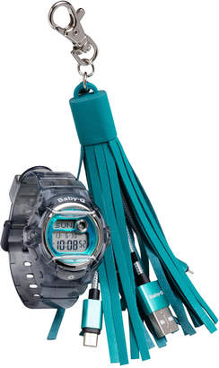 G-Shock Women's Digital Baby-g Gray Resin Strap Watch & Usb Charging Tassel Gift Set, 46mm, Created for Macy's