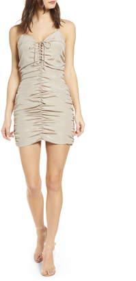 J.o.a. Lace-Up Ruched Dress