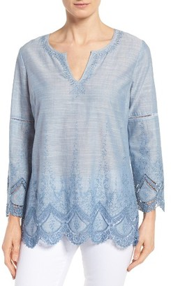 Petite Women's Nydj Embroidered Voile Top $118 thestylecure.com
