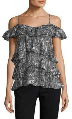 MICHAEL Michael Kors Watermark Cold-Shoulder Ruffle Top