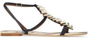 Malone Souliers Ruched Metallic Leather Sandals