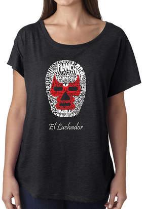 LOS ANGELES POP ART Los Angeles Pop Art Women's Loose Fit Dolman Cut Word Art Shirt - MEXICAN WRESTLING MASK