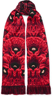 Alexander McQueen Tasseled Fringed Wool-blend Jacquard Scarf - Red