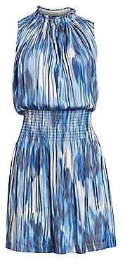 Halston Women's Sleeveless Smocked V-Neck Dress