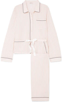 Morgan Lane - Ruthie And Chantal Striped Cotton-blend Seersucker Pajama Set - Blush