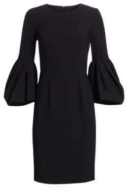 Carolina Herrera Pleated Bell-Sleeve Dress