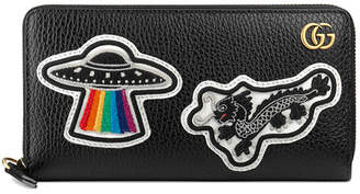 Gucci Leather zip around wallet with UFO & Chinese dragon