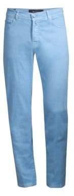 Kiton Men's Five-Pocket Linen-Blend Pants - Blue - Size 40