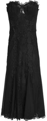 Dolce & Gabbana Lace-Appliquéd Pleated Crepe Midi Dress
