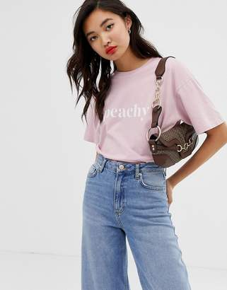 Iden Denim organic cotton boyfriend t-shirt with peachy slogan