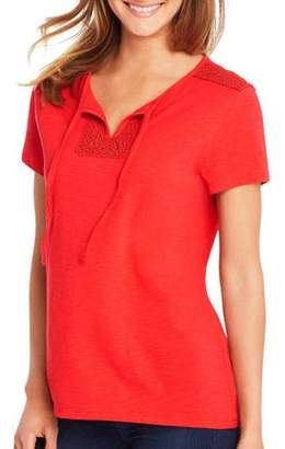 Hanes Women's Short-Sleeve Henley Tee with Crochet Trim