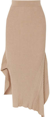 Stella McCartney Asymmetric Ribbed Wool And Silk-blend Midi Skirt - Camel