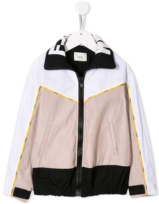 Fendi contrast panels bomber jacket