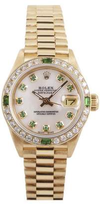 Rolex Datejust Lady President 18K Yellow Gold Custom White Mother of Pearl Dial with 10 Green Diamonds 26mm Watch