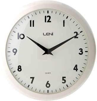 Leni Metal School Wall Clock, 24cm, Bella Ivory