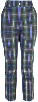 MSGM Check Print Cotton Blend Trousers