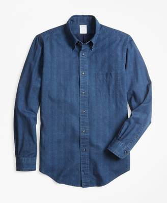 Brooks Brothers Regent Fit Glen Plaid Indigo Sport Shirt