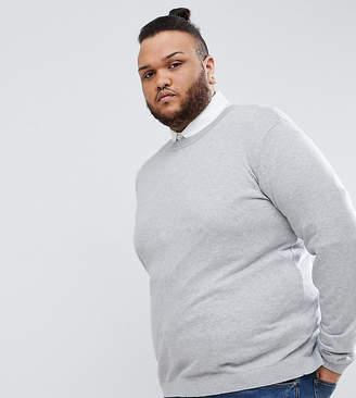 Asos Design PLUS Crew Neck Cotton Sweater In Gray