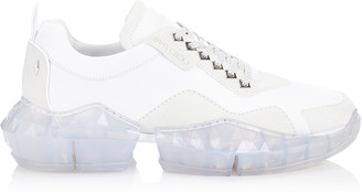 Jimmy Choo DIAMOND/M White Calf Leather and Suede Trainers with Chunky Platform