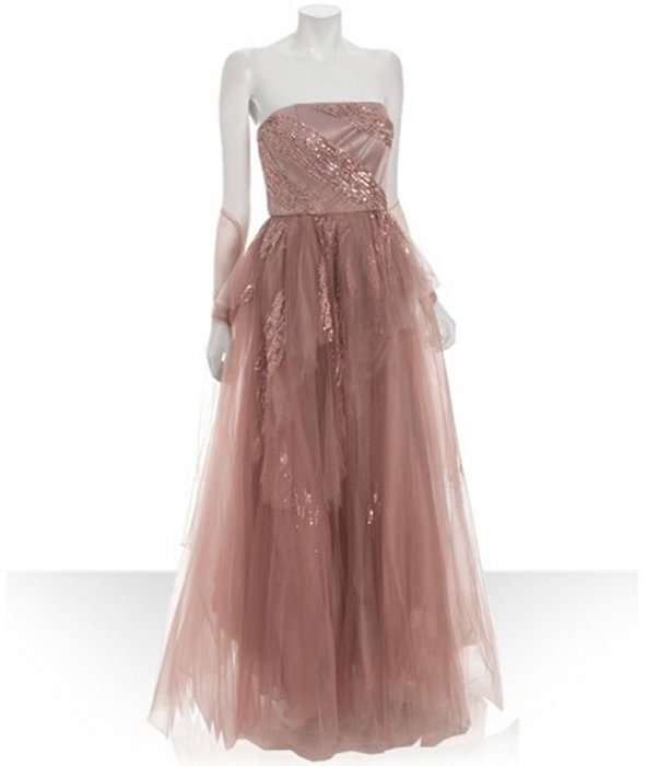 Alberto Makali pink sequin tulle tiered gown with shawl