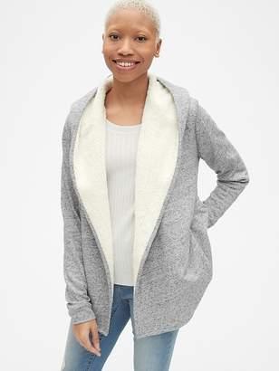 Gap Sherpa-Lined Hooded Wrap Cardigan Sweatshirt
