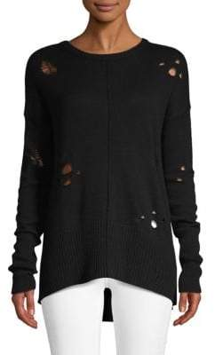 Autumn Cashmere Distressed Cashmere Blend High-Low Sweater