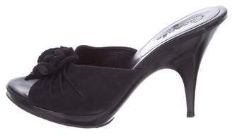 Chanel CC Camellia Slide Sandals