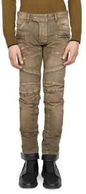 Balmain Destroyed Moto Skinny Jeans
