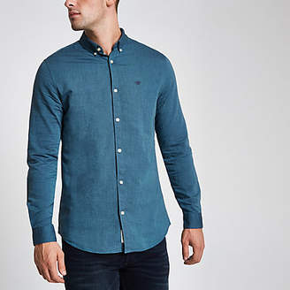 River Island Mens Blue wasp embroidered Oxford shirt