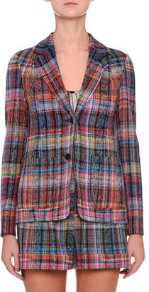 Missoni One-Button Rainbow Check Jacket