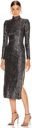 Smythe Sequin Side Slit Dress in Silver Sequin Stripe   FWRD