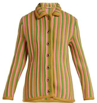 Miu Miu - Striped Wool Cardigan - Womens - Green