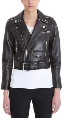 Theory Black Leather Shrunken Moto Jacket