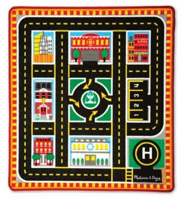 Melissa and Doug Round The City Rescue 39-Inch x 36-Foot Rug and Car Set