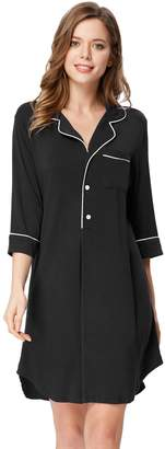 Zexxxy Comfy Bamboo Nightshirt for Women Plus Size Pajama Nightgown 2XL