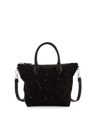 Prada Small Nylon Beaded Tote Bag, Black (Nero) $1,550 thestylecure.com