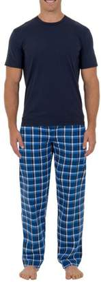 Fruit of the Loom Men's Big Size Microsanded Woven Sleep Pant with Jersey Top 2 piece Set