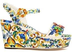 Dolce & Gabbana Embellished Printed Jacquard Wedge Sandals