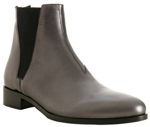 Prada graphite metallic leather ankle boots