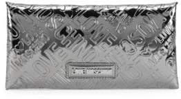 Love Moschino Metallic Logo Embossed Envelope Clutch