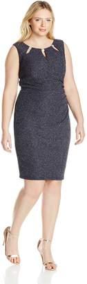 Betsy & Adam Women's Plus-Size Short Sparkle Cut Out Neck Dress