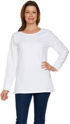 Factory Quacker Flower Lace Raglan French Terry Top