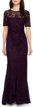 ONE BY EIGHT One By Eight Short Sleeve Lace Evening Gown