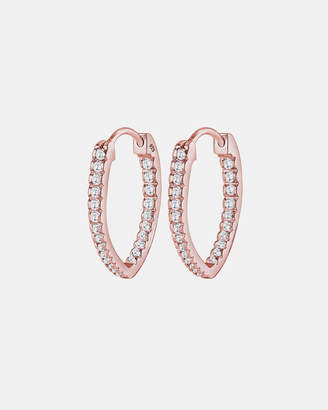 Earrings Creole Oval Zirconia 925 Sterling Silver Rose Gold Plated