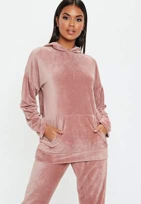 Missguided Rose Velour Oversized Hoodie