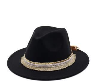 3474ee5f515 doublebulls hats Classic Trilby Hats Women Autumn Winter Flat Brim Felt  Jazz Fedoras Hat Multicolor