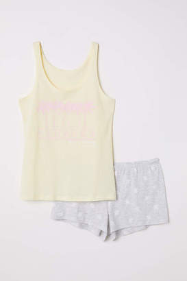 H&M Pajama Tank Top and Shorts - Yellow/Hanauma - Women